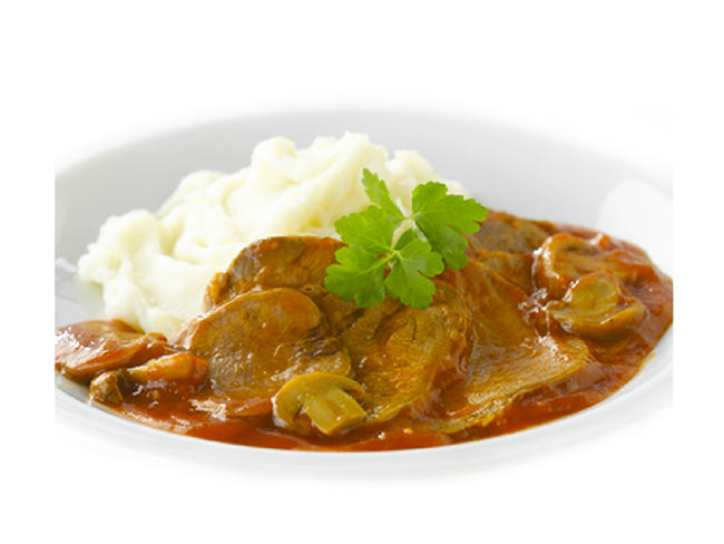 Beef tongue in Madeira sauce