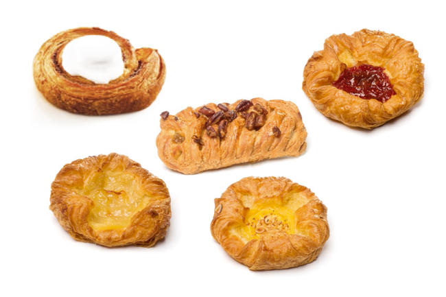 Breakfast with various Danish mini-pastries